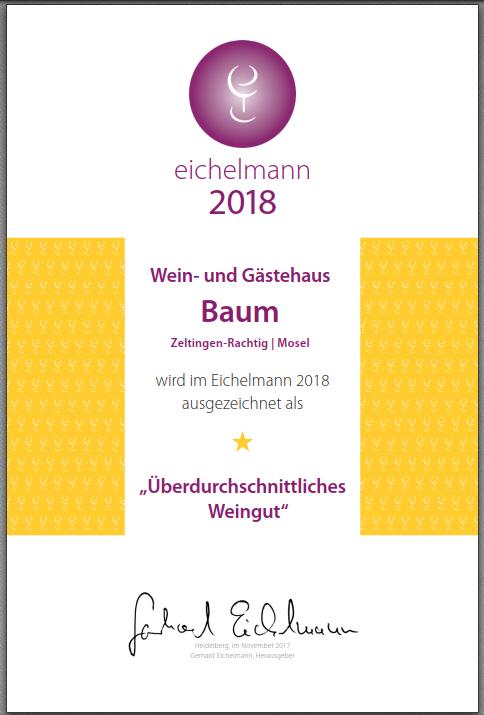 Eichelmann-Urkunde für unsere Rieslingweine 2018