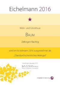 Urkunde Eichelmann - 2016 für unseren Weißwein