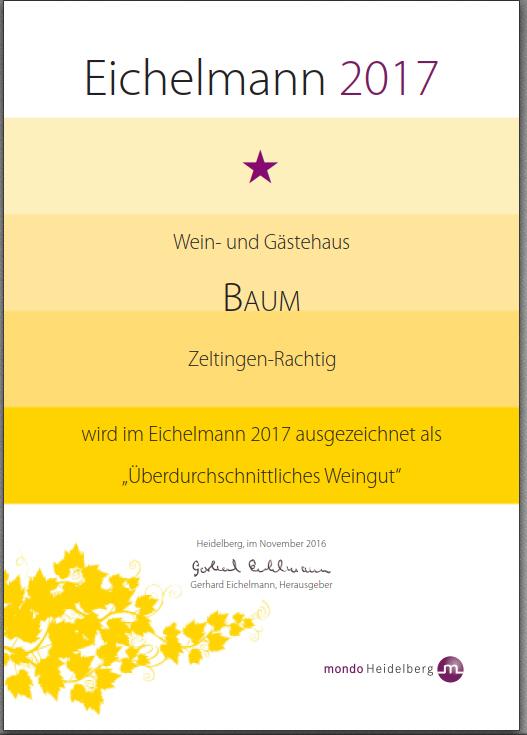Eichelmann Urkunde 2017-Rieslingwein von der Wehlener Sonnenuhr, Mosel