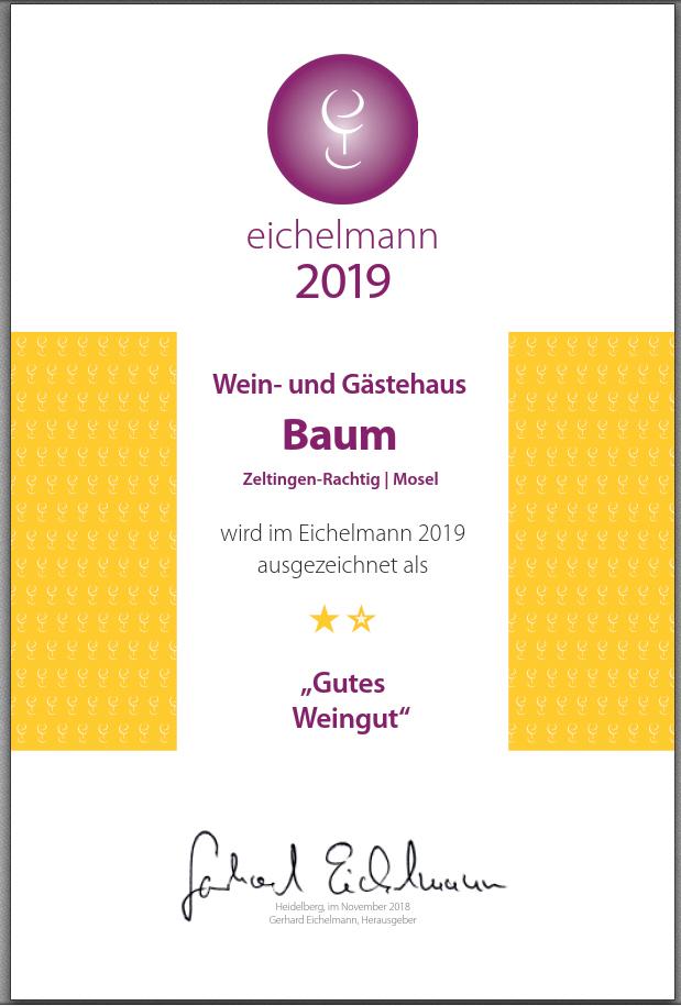 Eichelmann Urkunde 2019 Weinhof Baum, Zeltingen (Mosel)