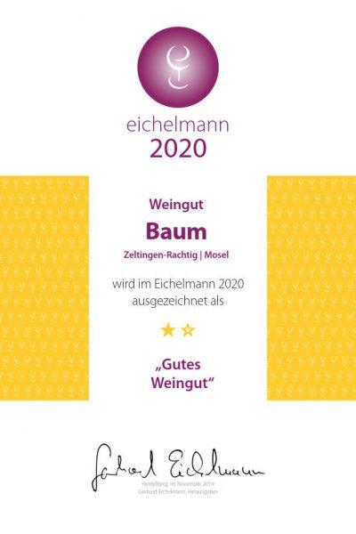 Eichelmann Urkunde 2020 für Winzerhof Baum in Zeltingen (Mosel)